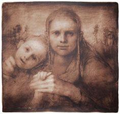 Odd Nerdrum - Mor og barn, brun   kr 25 000,-