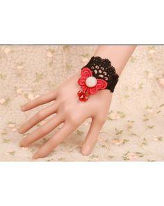 Black Lace Vintage Red Butterfly Lolita Bracelet