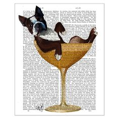 Discover the FabFunky Boston Terrier In Cocktail Glass Print at Amara