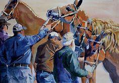 """The Lineup"" 28""x17"" Watercolor.  #columbiamuledays #columbiatennessee #horse #horseshow #farmshow #belgianhorse #belgiandraft #drafthorse #art #watercolorpainting #equineart #equine #horseart #artforsale #ohioartist"