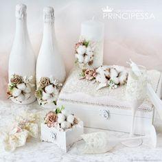 """Купить """"Нежный хлопок"""" свадебный набор - свадьба, белый, свадебные аксессуары, Аксессуары handmade"""