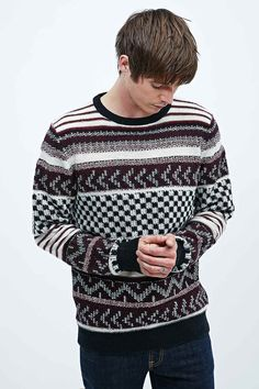 Selected Homme First Mixed Knit Jumper in Zinfandel - Urban Outfitters