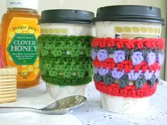 "Crochet ""to go"" coffee cozy, instead of getting the disposable sleeves each time.  Ella, I haven't seen anyone making these in our area ~ perhaps you could make a couple and then market them to local coffee shops??"