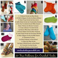 20 Free Crochet Patterns for Socks