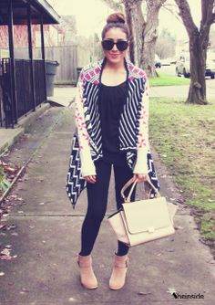 Pink Long Sleeve Tribal Pattern Asymmetrical Cardigan - Sheinside.com