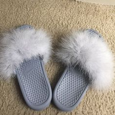 Grey Fur Nike Slides any color fur by Designsbykaemiyan on Etsy