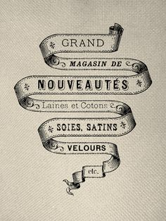 French Banner Engraving Iron On Tote Bag Pillow Sheet Graphic Digital Downloads No. 129