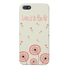 """Cute elegant simple Iphone 5 Case for Girls with Red Dandellions """"Love is in the Air"""" / Carcasa Iphone 5 Diente de León Rojo. You can customize it! Puedes personalizarlo!"""