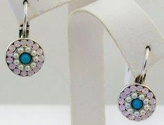 Mariana Petite Earrings NWT Rose Water Opal Aquamarine Pearl Swarovski Crystals