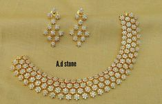 7286062150 ping me for orders Gold Necklace Simple, Gold Jewelry Simple, Necklace Set, Gold Jhumka Earrings, Diamond Necklaces, Diamond Jewellery, Diamond Pendant, Ruby Jewelry, Bridal Jewelry