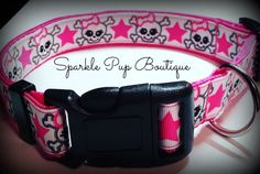 Pink and White Skull and Cross Bones Dog Collar/ Adjustable by SparklePupBoutique on Etsy