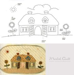 .cute applique house purse