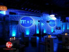 MOR TV Event Custom Lighting with with video projection's, high powered movers, and  LED Up Lighting