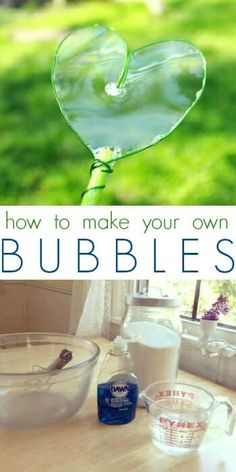 How to Make Homemade Bubbles 4 cups warm water cup sugar cup Dawn dish soap whisk sugar into warm water until sugar dissolves. add dish soap and whisk to combine, now blow bubbles! Craft Activities For Kids, Summer Activities, Toddler Activities, Projects For Kids, Diy For Kids, Cool Kids, Crafts For Kids, Homemade Bubble Recipe, Homemade Bubbles