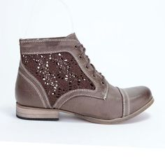 WantedShoes.com - Brave  Ankle Boots with Crochet insert.  Favorite Shoes EVER!