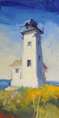 "Daily Paintworks - ""Two Bush Lighthouse"" - Original Fine Art for Sale - © Rita Brace"
