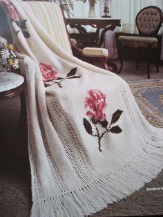 🌹 Crochê Afegão Padrão Ponto Cruz Flores -  /  🌹 Crocheting Standard Afghan Cross Stitch Flowers -