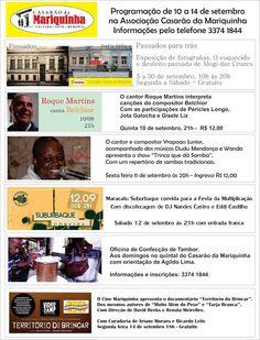 Agenda Cultural do ALTO TIETÊ: Casarão da Mariquinha: Programação de 10 a 14 de s...