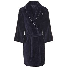 Tommy Hilfiger Navy Shawl Collar Bathrobe (245 AUD) ❤ liked on Polyvore featuring intimates, robes, tommy hilfiger, embroidered robes, bath robes, tommy hilfiger robe and long bathrobe