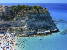 Scenic landscape with beach and Tropea peninsola