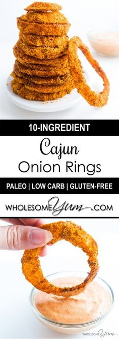 Cajun Low Carb Onion rings (Paleo, Gluten-free) - These baked low carb onion rings are crispy, gluten-free, healthy, and just begging to be dunked into some spicy dipping sauce.