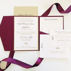 Maroon and gold invitation, with pocket to hold other cards.   Picture by: Van Tran email: vanvtran2020@gmail.com
