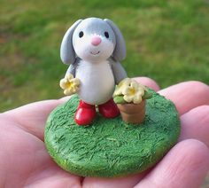 Rabbit in the garden bunny in wellies pottery by byKateElford