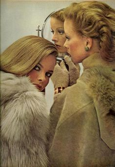 """Vogue US October 1975  """"The Biggest Makeup Change In Years""""  Models: Lisa Taylor and Sunny Redmond. Photo by Duane Michals"""