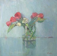 Tulips in the Round by Nancy Franke Oil ~ 36 x