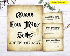Guess How Many Socks Are In The Jar Game Entertain your guests at your baby shower with Guess How Ma Harry Potter Baby Shower, Harry Potter Wedding, Harry Potter Theme, Harry Potter Birthday, Baby Shower Signs, Baby Shower Games, Jar Games, Bridal Games, Drink Signs
