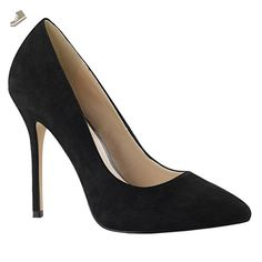 Womens Black Suede Pumps Pointed Toe Shoes Classic High Heel Pumps 5 Inch Heels Size: 16 - Summitfashions pumps for women (*Amazon Partner-Link)