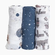 Little Unicorn Cotton Muslin Swaddle 3 Pack - Ground Control Navy Blue Nursery, Maternity Lounge Wear, Toddler Themes, Muslin Swaddle Blanket, Swaddling Blankets, Fashion Design For Kids, Kids Fashion, Star Nursery, Little Unicorn