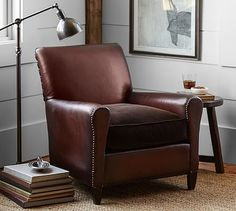 Bon Jean Leather Armchair With Velvet Seat #potterybarn. A Man Chair W/ A Little