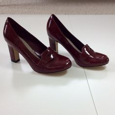 Nickels Burgundy Red Loafer Style Heels Never Worn Gorgeous! ❤️ Never worn; no damage or flaws❤️ 3 inch heel ❤️ Skirt and wristlet are listed separately. Bundle discounts ❤️ Nickels Shoes Heels