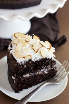 Chocolate cake topped with coconut shavings.