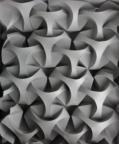 Curved Origami Wall Design by Andrea Russo Maybe something for Printer Chat? 3d Pattern, Surface Pattern, Shape Patterns, Textures Patterns, Surface Design, Pattern Design, Ideas Paneles, Modelos 3d, Digital Fabrication