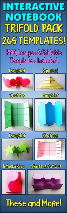 265 TRIFOLDS TEMPLATES! This collection of trifolds will help you create an interesting interactive experience for your students when they see your bulletin boards or decorated doors. These foldables are also perfect for interactive notebooks and flap books.