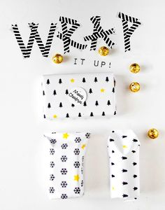 Méchant Design: Funky Time | black, white and yellow gift wrap