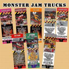 Monster Jam Trucks Birthday Invitation You Print or 10 ea w/Env Personalized #Personalized #BirthdayChild