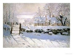 The Magpie, 1869,Monet.The Magpie  is an oil-on-canvas landscape painting by French Impressionist artist Claude Monet. Art historians believe it was created during the winter of 1868–1869 in the countryside near the commune of Étretat in Normandy.  The painting is one of approximately 140 snowscapes produced by Monet and is the largest winter painting in his collected work.