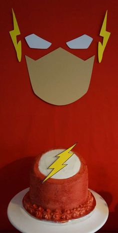 """The birthday cake at this superhero """"The Flash"""" Birthday Party is so cool!  CatchMyParty.com. See more more party ideas and share yours at CatchMyParty.com"""