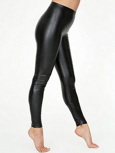 A side zipper legging in smooth vegan leather construction features a bit of stretch that improves with age and wear.