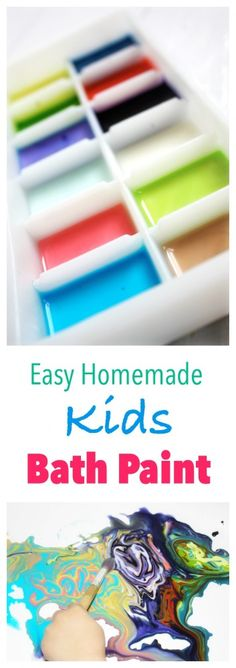Easy Homemade Kids Bath Paint - 3 ingredients - soft on the skin. Great kids play activity.