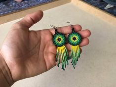 Traditional Huichol Beaded Dangle & Drop Earrings, crafted by Mexican-Indigenous artisans of the Huichol tribe of Mid-West Mexico. Beaded Earrings, Etsy Earrings, Crochet Earrings, Beaded Bracelets, Drop Earrings, Bead Sewing, Metal Beads, Bead Art, Dangles