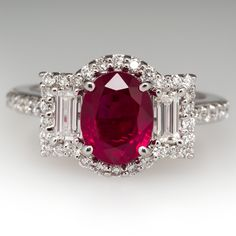 2.5 Carat Ruby & Baguette Diamond Engagement Ring 18K White Gold.......