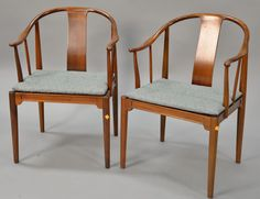 Pair of Fritz Hansen teak Chinese chairs, Hans Wegner designer ~ Realized Price $1,440.00