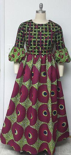 Multi African Print Maxi Dress. Lattice African Wear 6f29dc2a8c