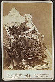 Official portrait of Queen Victoria as Empress of India, showing her sitting on the Travancore ivory throne and wearing the sash of the Order of Neshan Aftab, presented to her by the Shah of Persia.