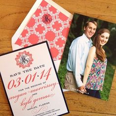 Double sided save the date with a coordinating monogrammed envelope liner, so cute! Coral and navy perfection I Custom by Nico and Lala