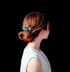 Bridal Headpiece,Vintage crystal Head-chain Bridalheaddress, ooak Bridal, Art Nouveau wedding